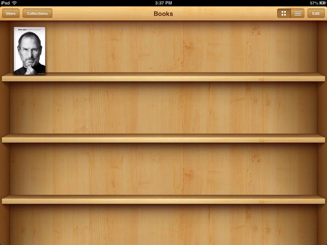 iBooks før den nye opdatering. Massive træhylder med 3D-effekt til dine e-bøger.