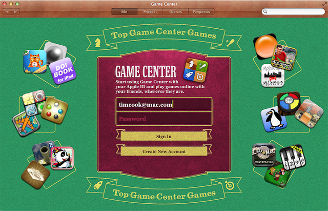 Game Center. Spillebord med grønt filt og kasino-look.