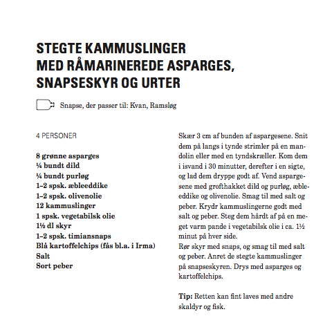 Kryddersnapse Stegte Kammuslinger Lindhardt og Ringhof