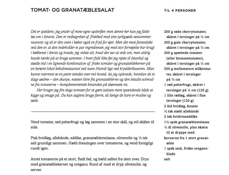 Opskrift tomat- og granatæblesalat Lindhart og Ringhof
