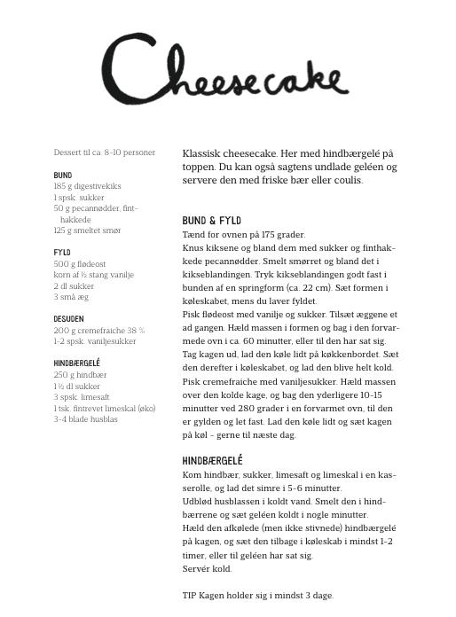 Opskrift Louise Lorang Cheese Cake Lindhardt og Ringhof