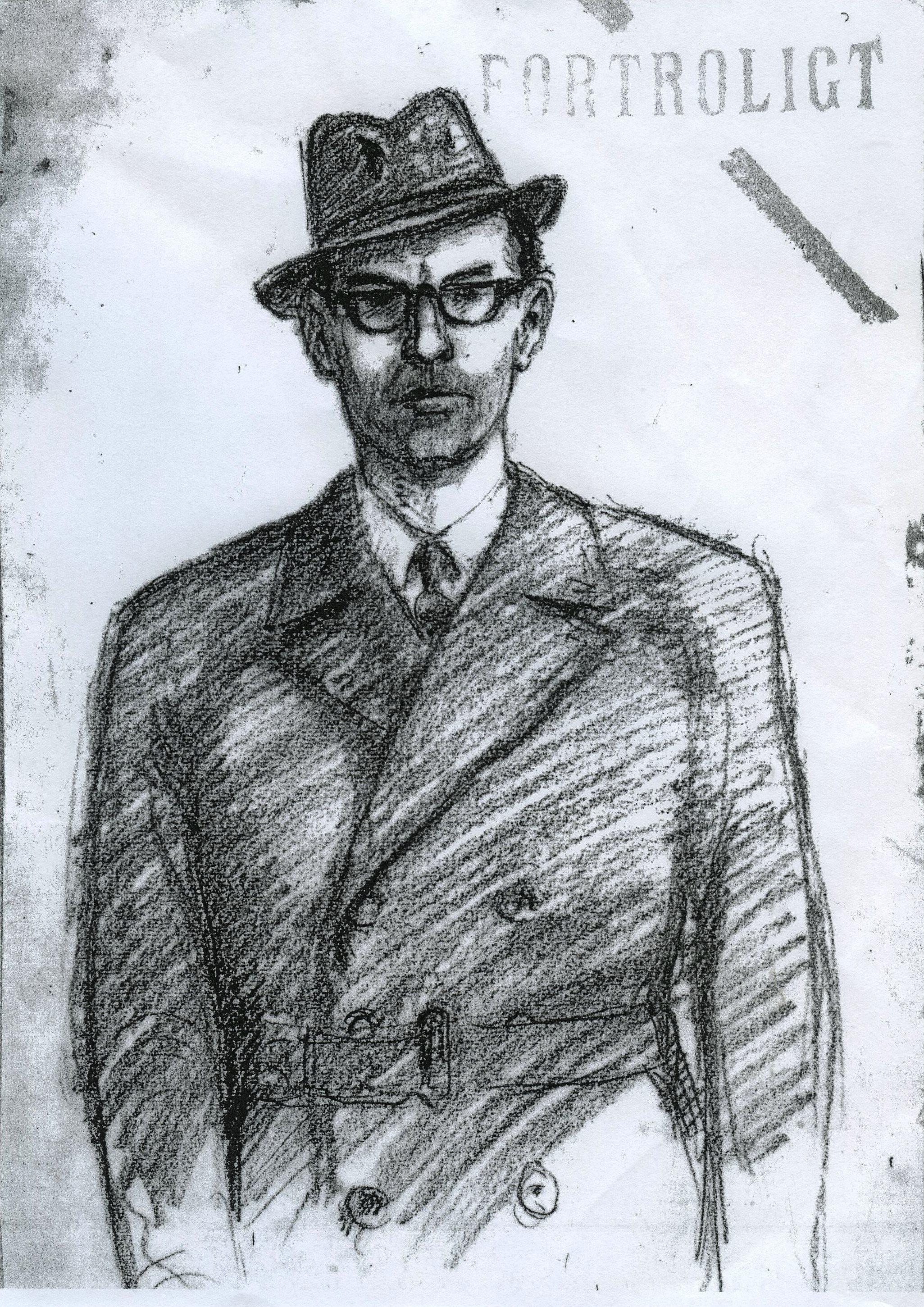 Politiets fantomtegning af den mand, der myrdede Marie Lock-Hansen i 1967 i hendes hjem i Højbjerg, og som aldrig er fundet.