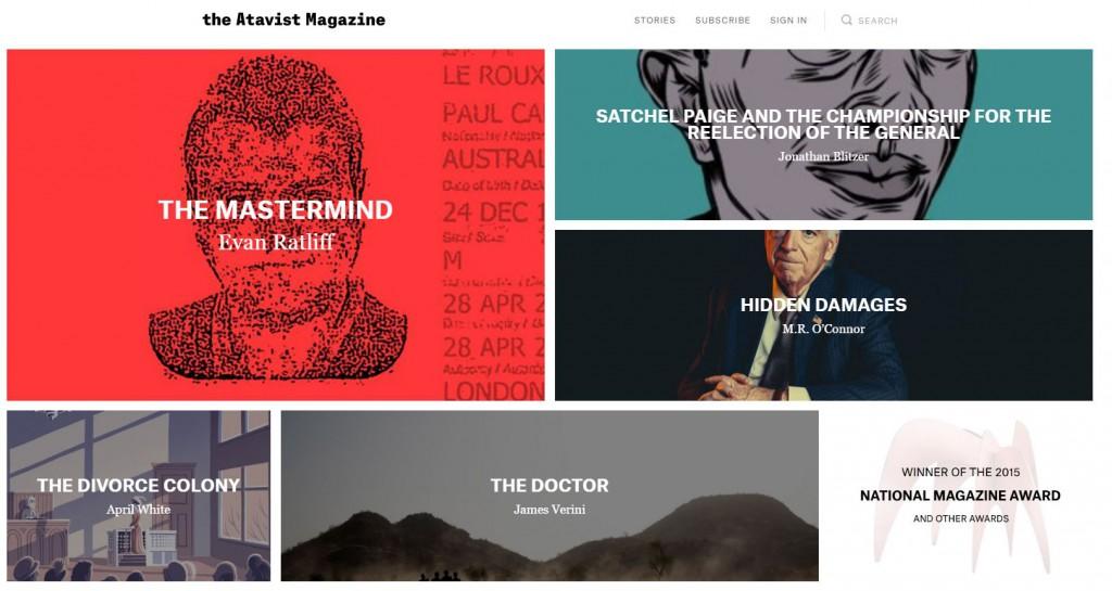 the Atavist magazine landing page