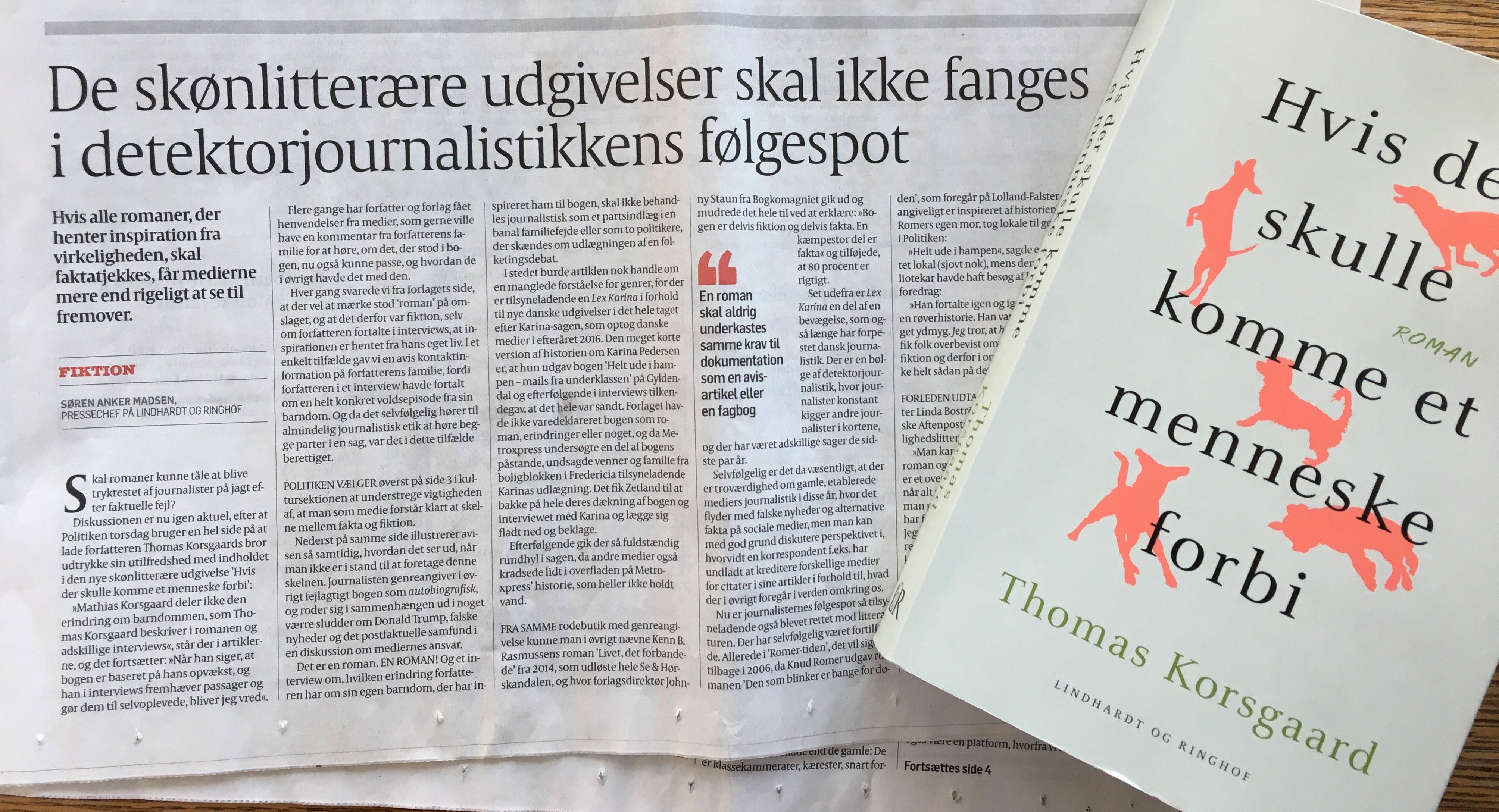 Debat om Thomas Korsgaards roman i Politiken