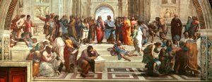 """""""Skolen i Athen"""" n, vægmaleri af Rafael i Stanza della Segnatura i Vatikanet, udført 1509-10."""