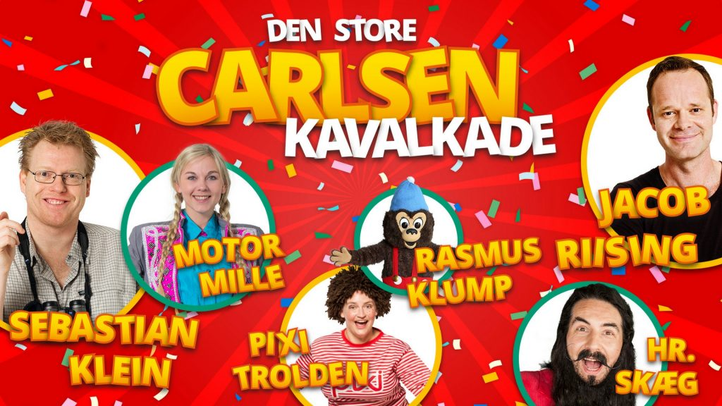 Den store carlsen kavalkade, forlaget carlsen, Rasmus Klump, Pixi-trolden, Motor Mille, Hr. Skæg, Sebastian Klein, Jacob Riising