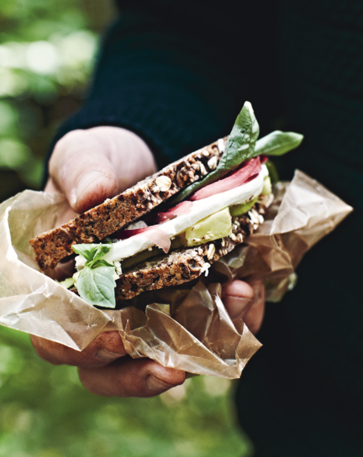 rugbrødssandwich, sund madpakke, nem madpakke, madpakkeide
