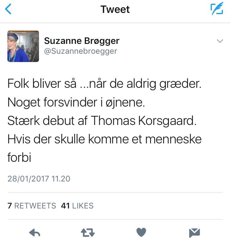 Hvis der skulle komme et menneske forbi, Thomas Korsgaard, Suzanne Brøgger