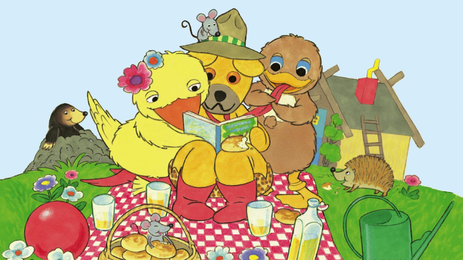 bamses billedbog, bamses allergodeste billedbog, bamse og kylling, højtlæsning, elin bing, ælling, bamse, kylling,